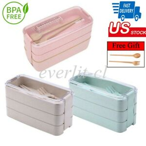 3 Layer Microwave Bento Box Leakproof Lunch Container For Food Snack Storage