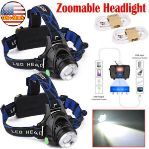 2* USB Rechargeable 350000LM Headlamp T6 LED Zoomable Headlight Work Light Torch