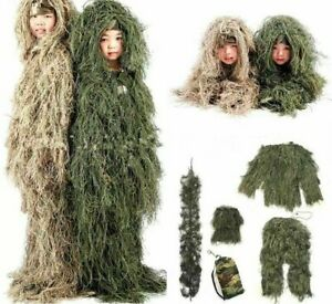Kids Ghillie Suit Hunting Clothes Camouflage Military Set Camo Poncho Tactical