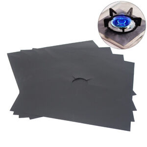 4x Reusable Stove Burner Covers Heavy Duty Oven Liner Gas Hob Protector Sheets