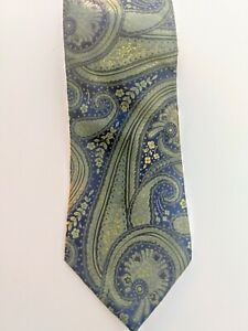 Merona Green And Blue Swirl Pattern Tie 100% Silk Decent Condition
