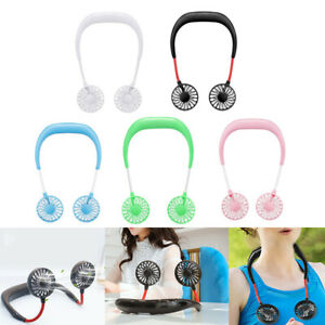 Portable USB Rechargeable Neckband Lazy Neck Hanging Dual Cooling Mini Fan A/H
