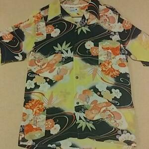 Sun Surf size M Navy SS37463 KIMONO DESIGN ALOHA by KING SMITH cotton Men USED