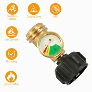 Propane Tank Gauge RV Pressure Brass Adapter Gas Level Meter Grill BBQ Indicator