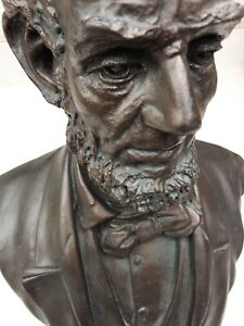 Abe Lincoln Bust in Polyresin amp; Bronze Powder 5lbs 10oz 12quot; Tall x 8quot; Wide $116.99