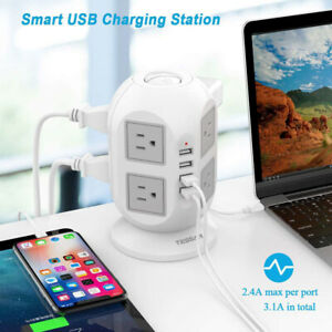Widely Spaced Outlet Power Strip Surge Protector with USB Charge Port