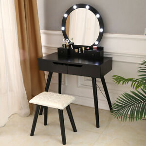 Makeup Vanity Dressing Table Set W/Stool Led Mirror 4 Drawers Jewelry Organizers