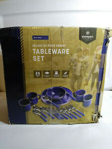 Stansport Enamel Camping Tableware Set - 24 Pieces - Blue - NEW