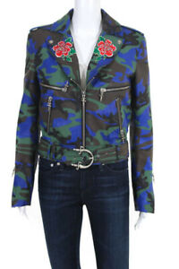 Cesare Paciotti Womens Leather Jacket 40 US 2 Blue Green Camo Print Floral NEW