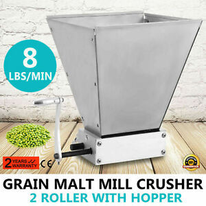 Homebrew Grain Mill Barley Grinder Malt Crusher 2 Roller with Hopper US