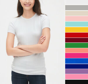 Women#x27;s Basic T Shirt Soft Cotton Knit Slim Fitted Short Sleeve Solid Plain Top