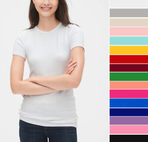 Womens Basic T Shirt Soft Cotton Knit Slim Fitted Short Sleeve Solid Plain Top $9.99