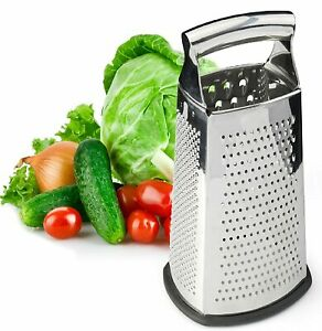 Spring Chef Box Grater, 4-Sided Stainless Steel Large 10-inch Grater for Parmesa