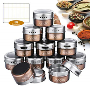 Spice Jars 12 Magnetic Spice Containers Stainless Steel Round Seasoning NEW