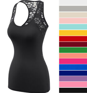 Womens Sheer Lace Racerback Tank Top Scoop Neck Sleeveless Soft Stretch Cotton $10.99