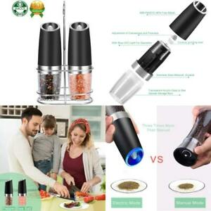 Electric Pepper Grinder And Salt Mill Set Spice Tall Power Shaker, Gravity Contr