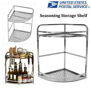 2Tier Stainless Steel Kitchen Cabinet Corner Spice Rack Storage Organizer Holder