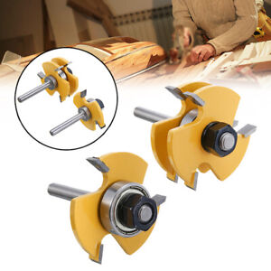 2Pcs 1/4 Inch Shank T Shape Wood Milling Cutter Tongue Groove Router Set