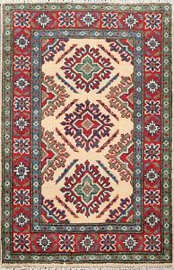 2x3 Geometric Ivory Super Kazak Oriental Area Rug Wool Hand-Knotted Foyer Carpet