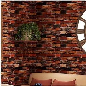 Yancorp Self Adhesive Wallpaper Rust Red Brown Brick Contact Paper Fireplace