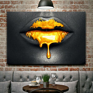 GOLDEN LIPS Inspirational Gold Print Home Wall Art Decor Gift CANVAS / POSTER