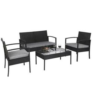 4 PCS Outdoor Patio Rattan Wicker Furniture Set with Table