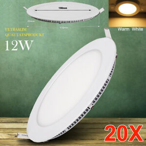 20X 12W LED Recessed Panel Down Lights Lamp Ceiling Fixture Warm White Lighting