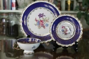 Winterling Bavaria Porcelain Set with Tea Cup, Saucer and Plate - Gold Accent an