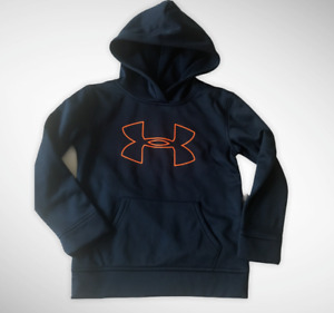 UNDER ARMOUR LITTLE BOYS PULLOVER NAVY BLUE BIG LOGO HOODIE 6 7 NEW $12.99