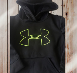 UNDER ARMOUR LITTLE BOYS PULLOVER BLACK BIG LOGO HOODIE 7 5 NEW $12.99