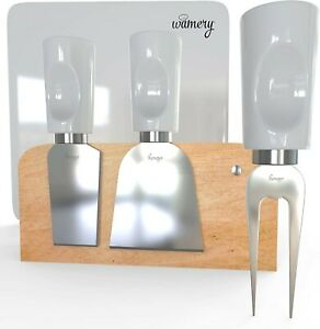 5 Piece Stainless Steel Cheese Set. Porcelain Handles & Cutting board.