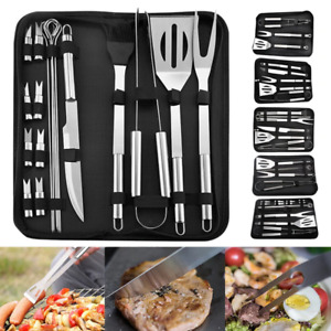 BBQ  Tools GrilSet Kit Stainless Steel Utensils 18 Accessories Outdoor Grilling