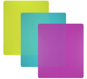 Cutting Board Mats Set Flexible Plastic Colorful Kitchen Cutting Board Set 3 Col