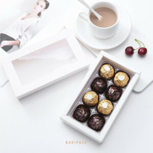 20 Chocolate Paper Boxes Candy Truffle with 8pcs Plastics Tray DIY Gold White