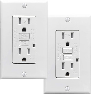 PROCURU 2-Pack Tamper Resistant Self-Test GFCI Receptacle Outlet with LED Indica