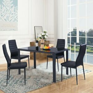5 Piece Table Chair Kitchen Dining Set Furniture Glass Metal
