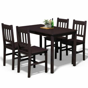 5 Piece Dining Table Set 4 Chairs Wood Home Kitchen Breakfast Furniture