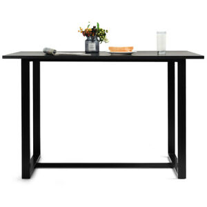 Modern Dining Table for 4 People w/ Metal Frame Bamboo Top Black