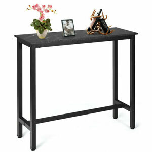 47'' Pub Dining Table Industrial Bar Height Bistro Table w/ Faux Marble Top