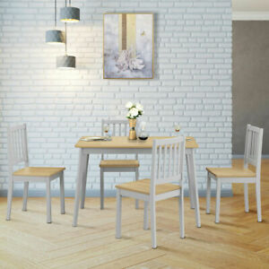 5PCS Dining Table and 4 Chairs Set w/ Wooden Legs Home Kitchen Furniture