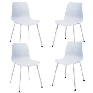 Set of 4 Dining Chair Modern Mid-Century Plastic Side Chair w/ Metal Legs White