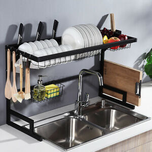 2-Tier Over Sink Dish Drying Rack Stainless Steel Kitchen Cutlery Shelf Drainer