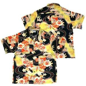 Sun Surf KIMONO DESIGN ALOHA by KING SMITH Rayon SS30690 Size M Navy Men's USED
