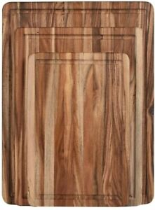 Thick Acacia Wood Cutting Board with Juice Drip Groove Organic Large Set of 3