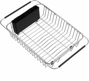 Kitchen Expandable Dish Drying Rack Over Sink Stainless Steel For Pots and Pans