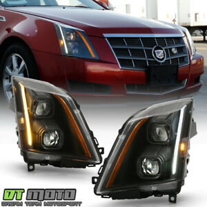 2008 2014 Cadillac CTS Halogen Black LED Switchback Signal Projector Headlights $298.99