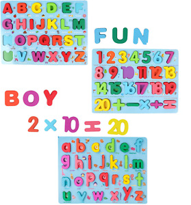 Wooden Alphabet Number Puzzle Board Toddler Educational Early Learning Toys