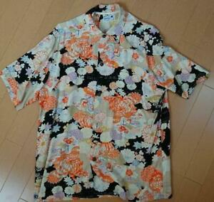 Sun Surf KIMONO-DESIGN ALOHA SS31811 Color Black Rayon Size M Men's USED