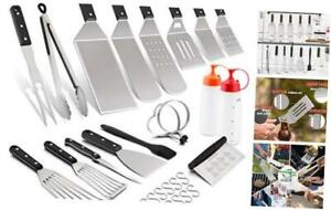 Leonyo Griddle Grilling Barbecue Accessories Tool Set of 18, Stainless Steel