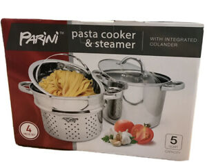 Parini 5 Qt Stainless Steel Pasta Cooker & Steamer 4 Piece Stackable Set New B43